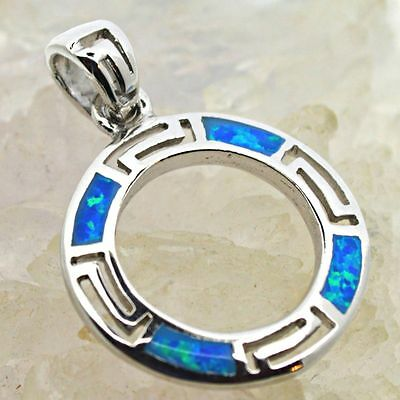 Small Silver Circle Pendant Blue-Green Fire Opal 925 Sterling Silver Jewellery