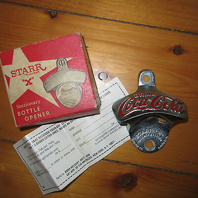 "vintage Starr ""X"" Coca Cola Coke Stationary Bottle Opener Box New Old Stock NOS"