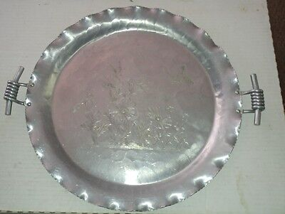"Vintage 16"" Federal Silver Co. Aluminum Tray Floral & Butterfly With handles"