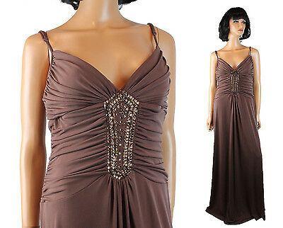 Extra Long Cocktail Dress Sz L Brown Sleeveless Beaded Copper Sequins Prom Gown
