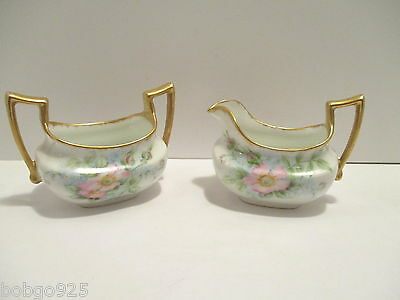 Limoges Porcelain Sugar & Creamer Set Pink Wild Rose Flowers Antique T&V France