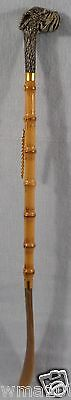 "Vintage Bamboo w/ Dog Head Handled Shoe Horn 21"" Made in Italy COOL!"