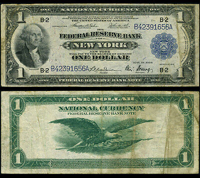 FR. 712 $1 1918 Federal Reserve Bank Note New York Fine+