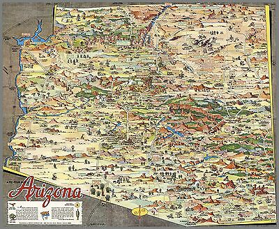 1929 pictorial map Arizona town cities landmarks historical points 8252003