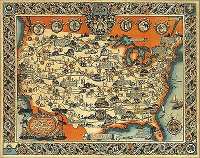 1927 PICTORIAL Map Highways and byways Girl Scouting Girl Scouts  9902