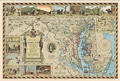 1931 PICTORIAL historical literary map Old Line State of Maryland POSTER 8334000