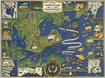 1928 pictorial map Portland Maine and Some Places Thereabout history POSTER 8617
