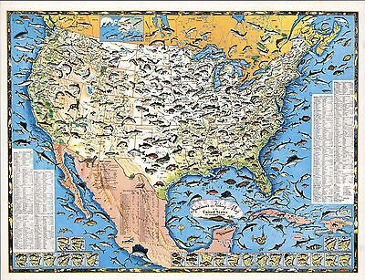 1957 pictorial map Sports Fishing United States Neighboring Waters POSTER 8831