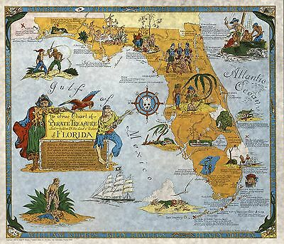 1960 pictorial Chart Pirate Treasure Lost Land & Waters Florida POSTER 8910000