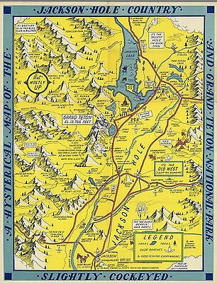 1948 PICTORIAL hysterical map Jackson Hole country Grand Teton Park POSTER 9945