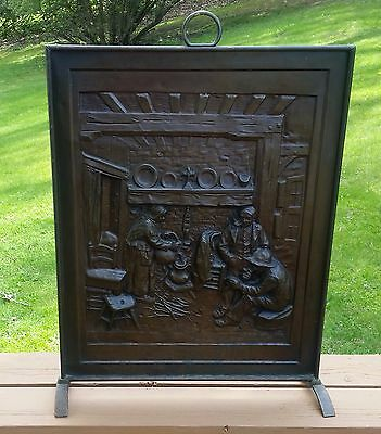 Antique Embossed Bronzed Tin Summer Fire place Screen with Legs