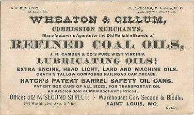 Coal Oil and Lubricating Oil Advertising Card pre- 1900 St. Louis, MO Missouri