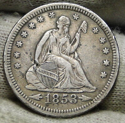 1853 Seated Liberty Quarter 25 Cents - Nice Coin Free Shipping (5470)