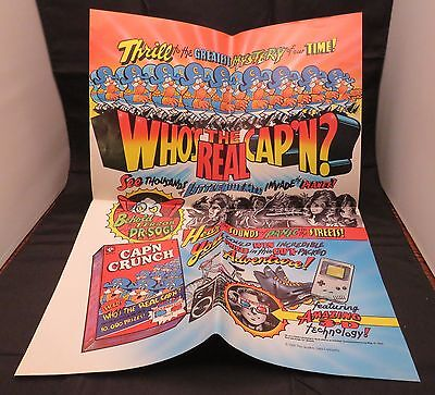 """1991 Vintage Cap'n Crunch Poster """"Thrill to the Greatest Mystery of our Time"""""""