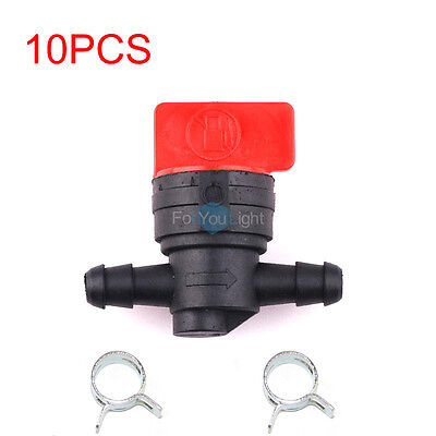 "10PCS BRIGGS & STRATTON 1/4"" IN LINE Gas Fuel Shut Off /Cut Off Valve W/ Clamps"