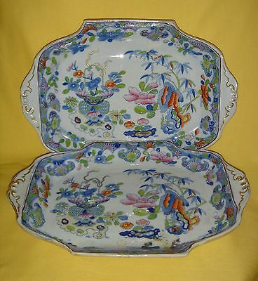 ANTIQUE EARLY 19thC MASONS IRONSTONE CHINA COLOURFUL CHINOISERIE DESSERT DISHES