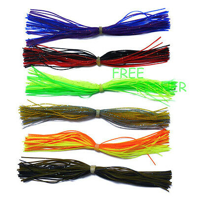 6pc Silicone Skirts spinner bait bass lure blade fishing jig head lure craft Hot