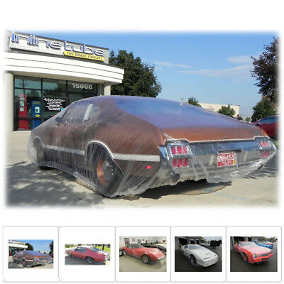 Universal Clear Plastic Temporary Disposable Car Cover Rain Dust Protection M