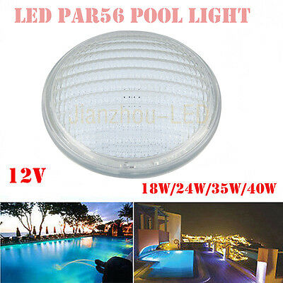 18W 24W 35W 40W DIP PAR56 Underwater Blue LED Swimming Pool Light Lamp Glass 12V