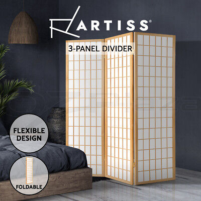 3 Panel Room Divider Living Bed Solid Wooden Timber Fold Screen Stand Wide Beige