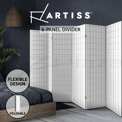 Artiss 6 Panel Room Divider Screen Wood Timber Dividers Fold Stand Wide White