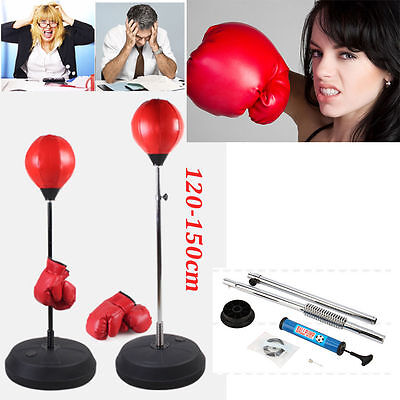 Standing Adjustable Adult Punch Bag Ball Boxing Set With Gloves Hand Pump Red Uk