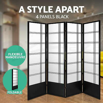 4 Panel Room Divider Living Bed Solid Wooden Timber Fold Screen Stand Wide Black