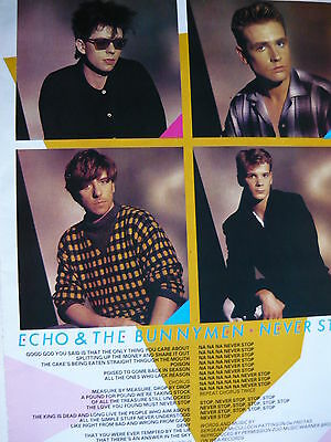 Echo & The Bunnymen - Magazine Cutting (Full Page Photo W/songwords) (Ref Xc)