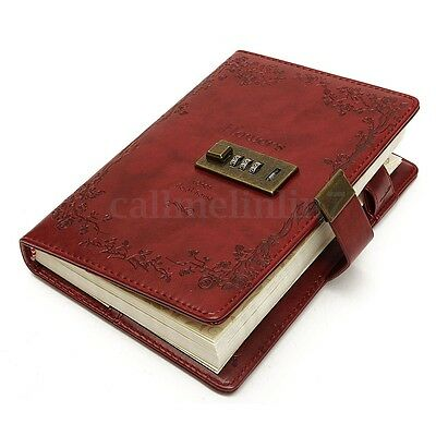 B6 Vintage Leather Red Rose Blank Journal Diary Note Book &Combination Lock UK