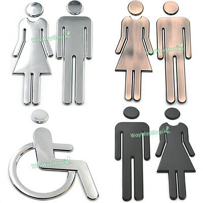 Restroom Bathrooms Adhesive Backed Men Women Handicap Toilet School Public Signs