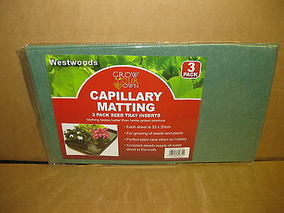 3 PACK CAPILLARY MATTING 33cm x 20cm SEED TRAY GROWING PLANT BUY 2 GET 1 FREE