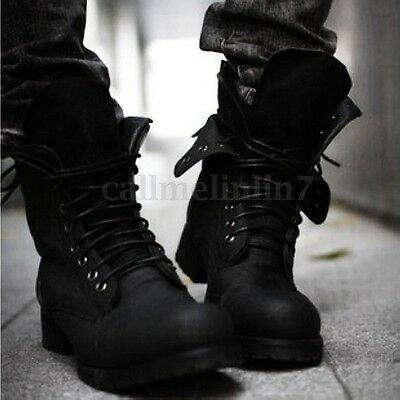 Mens Winter Retro Lace Up Military Combat Ankle Boots Tactical Work Shoes Size