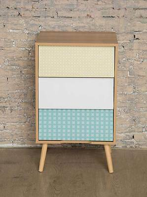 Mid Century Modern Contemporary 3 Drawer Bedside Decoupage Table 50's Style Angl