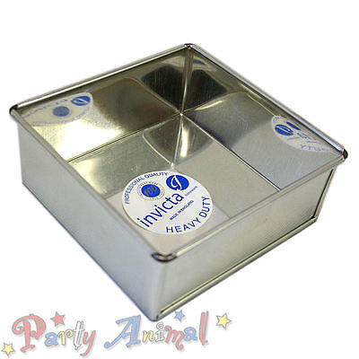 """Invicta 8"""" Inch Square High Quality Professional Cake Tin Pans / Bakeware Tins"""