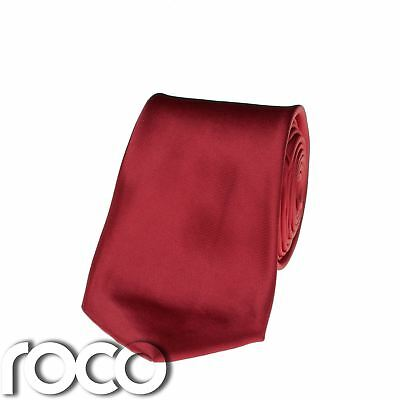 Boys Plain Red Long Satin Tie for Formal Suits, Communion Tie 3 - 15 years