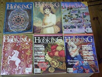 16 Different RUG HOOKING Magazines 1992 - 2013 Eight with Pull Out Rug Patterns