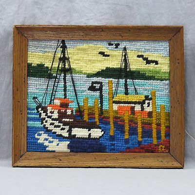 """Rico Tomaso Anxious Moment Completed Framed Latch Hook 8""""x10"""" Nautical Boat"""