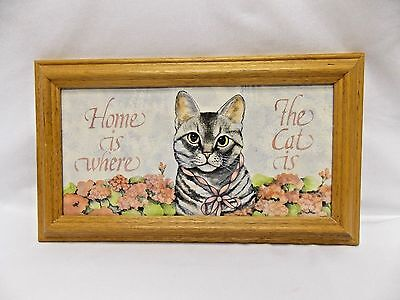 """""""Home Is Where The Cat Is"""" Picture In Frame with Tabby Cat & Flowers 12x6 1/2 In"""