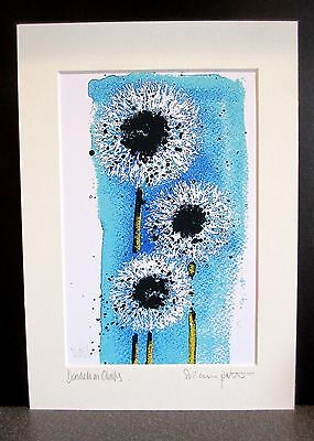 Dandelion Clocks. Art print from an original painting by Suzanne Patterson.
