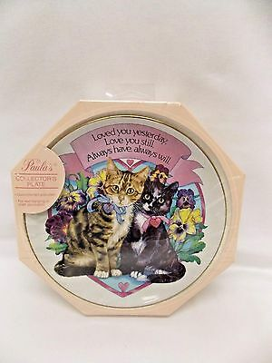 Gold-Rimmed Porcelain Collector's Plate 2 Cats Tabby&Black in Pansies on Heart