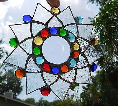 Leaded Stained Glass Sun Catcher  Flower Hanging clear frosted #15