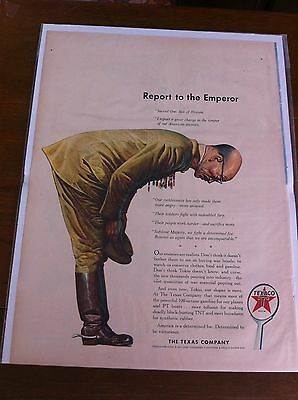 Vintage 1943 Texaco Report To The Emperor WW II Propaganda Print ad