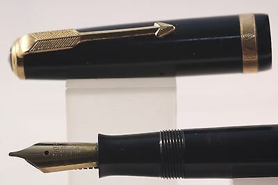 c1948 Parker Duofold AF Fountain Pen, Black with Gold Plated Trim
