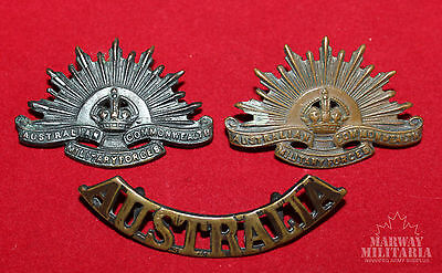 Australian Commonweath Military Forces Collar & Shoulder Badge Lot   (inv9500)