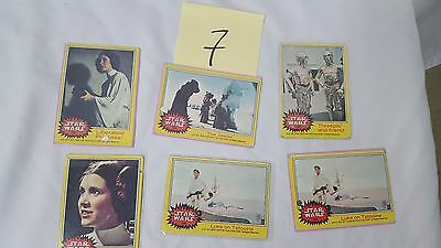 #7 Lot of 6 1977 20th Century Fox Star Wars Cards