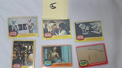 #5 Lot of 6 1977 20th Century Fox Star Wars Cards