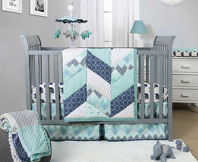 The Peanut Shell Mosaic 3-Piece Crib Bedding Set - Mint/Blue