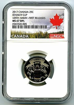 2017 Canada 25 Cent Ngc Ms67 Dpl Proof Like Stanley Cup Quarter First Releases