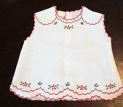Vintage Infant Christmas Top ~ Jolly Philippine Red Holy Green Leaves ~ Size 0