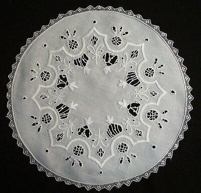 Antique Italian Round Placemats Whitework Embroidery With Cutwork Set Of 9